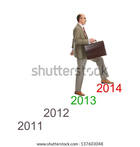 Businessman walking on drawing stairs, isolated over a white background - stock photo