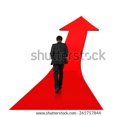 Businessman walking on red arrow up road with white background - stock photo