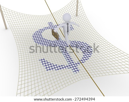Businessman walking on tightrope and a safety net with dollar sign is underneath - stock photo