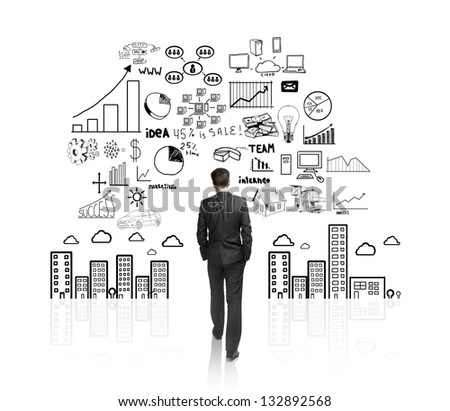 businessman walking to drawing concept city - stock photo