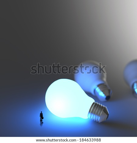 businessman walking to growing  lightbulb 3d idea diagram as success concept  - stock photo