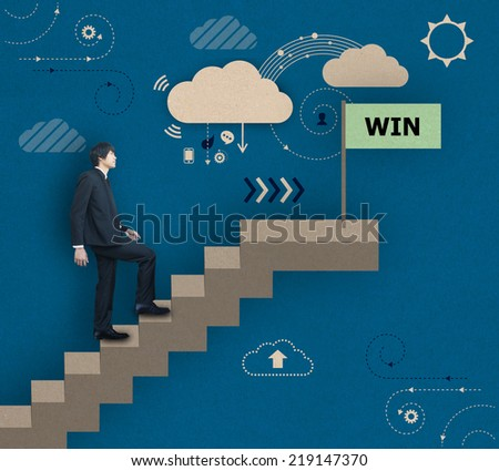 Businessman walking to win - stock photo