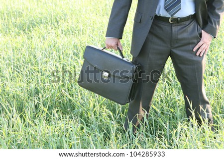 Businessman walks with suitcase in the field go to future ahead