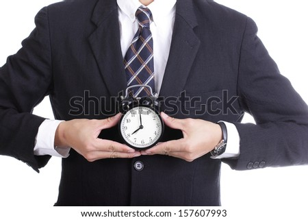 businessman watch and check time for complain something with white background
