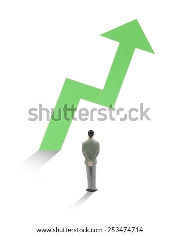Businessman watch how statistic arrow growth - stock photo