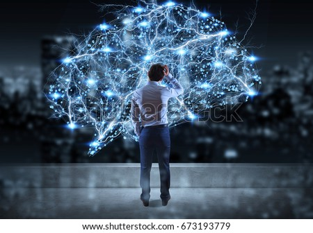 Businessman watching digital brain interface on a rooftop with a city view 3D rendering