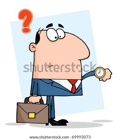 Businessman Watching The Clock - stock photo