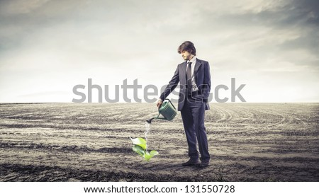 businessman watering a small plant