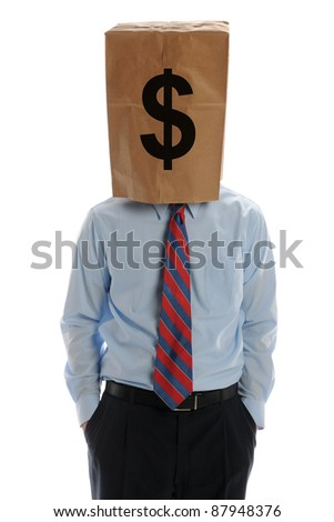 Businessman wearing a paper bag on his head isolated on a white background - stock photo