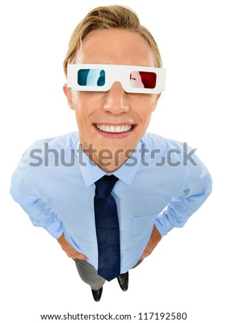 Businessman wearing 3d glasses isolated on white background