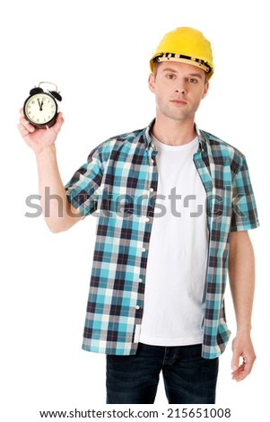 Businessman wearing helmet with clock .