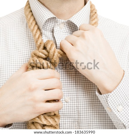 Businessman wearing rope over his neck - 1 to 1 ratio - stock photo