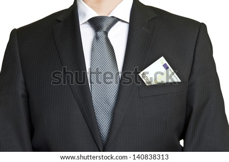 Businessman wearing suit and tie with 100 euro banknote in pocket