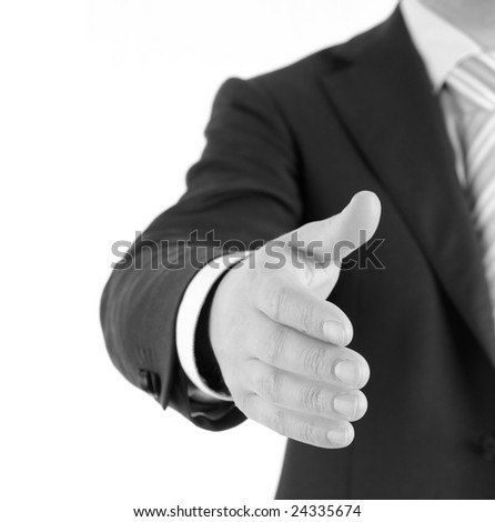 Businessman welcomes you. Isolated on white. - stock photo