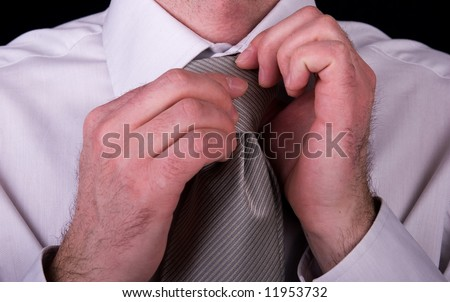 Businessman, white collar worker - closeup of a shirt and tie required in a business formalwear - stock photo
