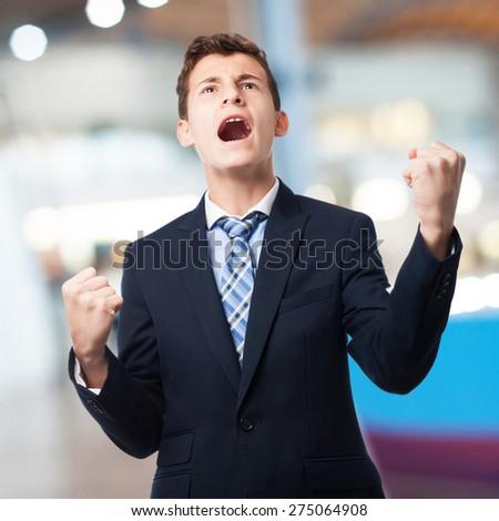 businessman win gesture - stock photo