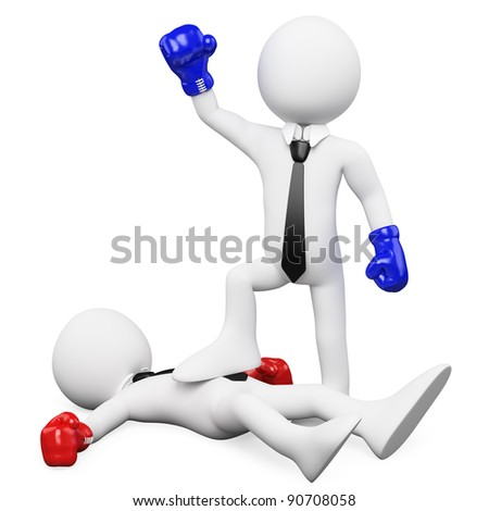 Businessman winning a boxing match and with his foot on his opponent