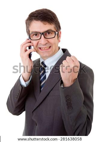 businessman winning on the phone, isolated - stock photo