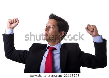 businessman winning reaction (isolated on white) - stock photo
