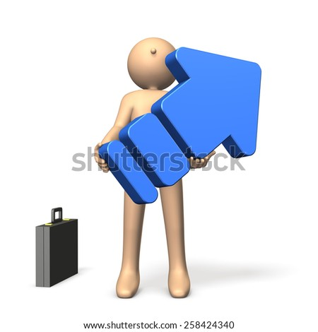 Businessman with a big arrow. He has a great ambition. - stock photo