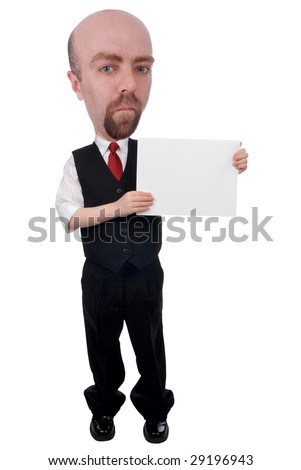 Businessman with a blank sign isolated over a white background - stock photo
