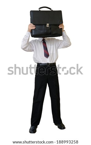 Businessman with a briefcase instead of a head (with clipping path) - stock photo