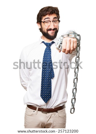 businessman with a chain - stock photo