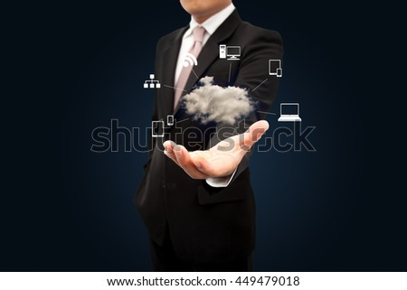 Businessman with a cloud Computing. - stock photo