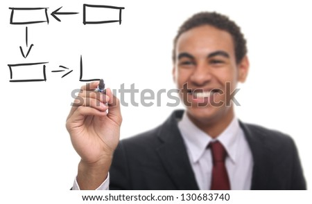 Businessman with a Diagram - stock photo