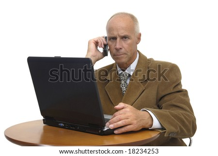 businessman  with a laptop isolated against a white  background