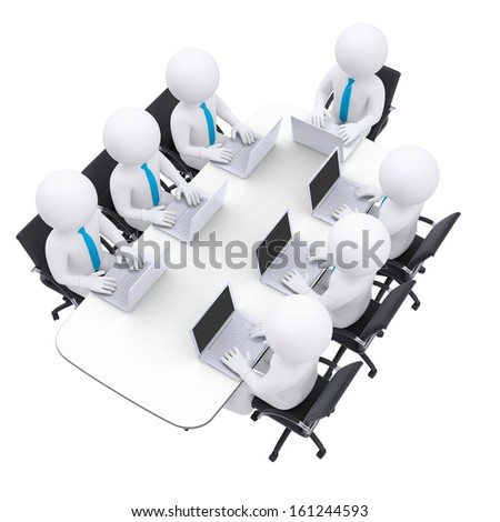 Businessman with a laptop sitting at the table. Isolated render on a white background