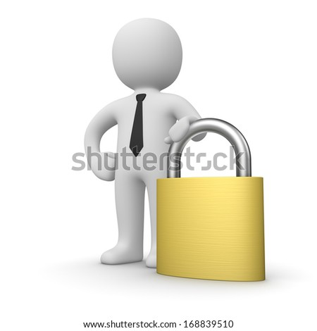 Businessman with a padlock - stock photo