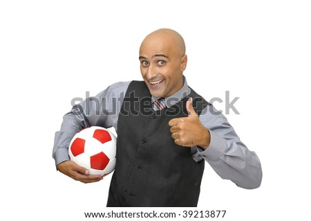 Businessman with a soccer ball  isolated in white - stock photo