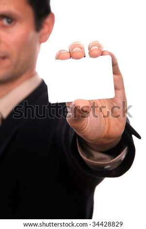 businessman with advertise board - stock photo