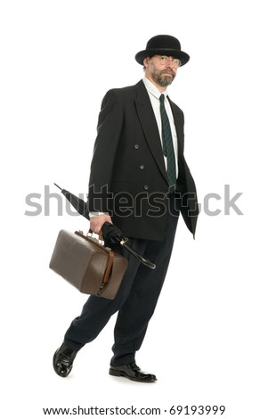 Businessman with an old bag and umbrella. - stock photo