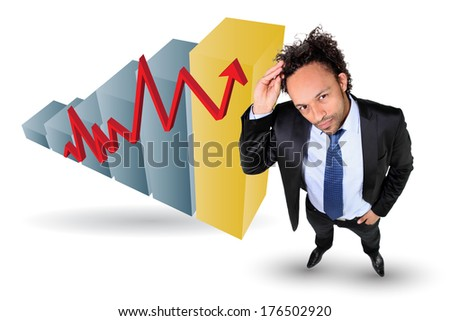 Businessman with an upwards growth chart - stock photo