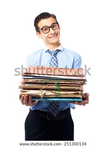 businessman with archives - stock photo