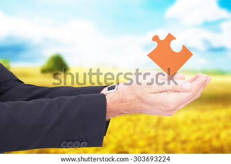 Businessman with arms out presenting something against golden fields - stock photo