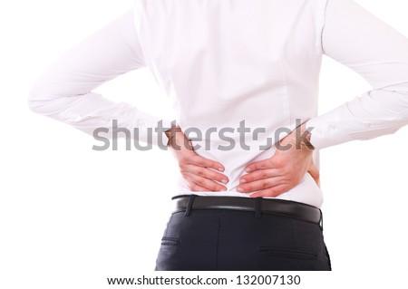 Businessman with backache. - stock photo