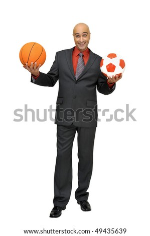 Businessman with balls isolated in white - stock photo