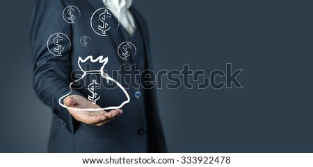 businessman with  banking ,money,financial concept background - stock photo