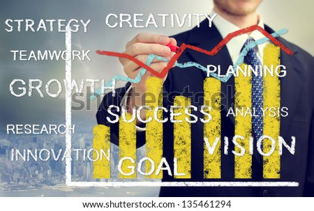 Businessman with bar and line graphs growth with concepts of innovation, vision, success, and creativity - stock photo