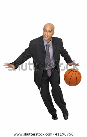 Businessman with basketball isolated in white - stock photo