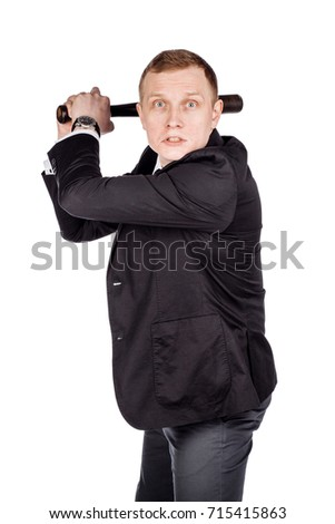 businessman with bat in action on white background. human emotion facial expression reaction attitude. emotion expression and lifestyle concept.