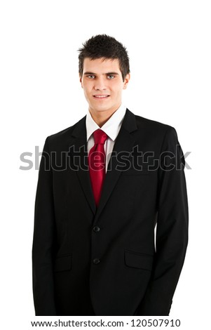 Businessman with beautiful blue eyes isolated on white - stock photo