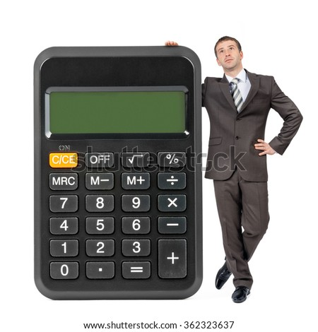 Businessman with big calculator