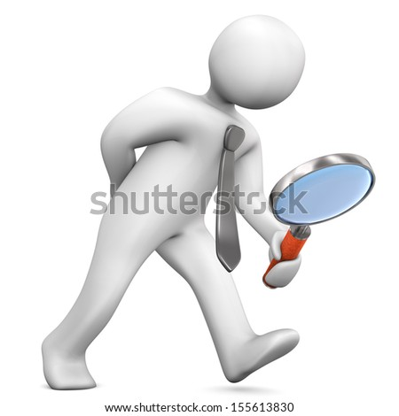 Businessman with big loupe on the white background. - stock photo