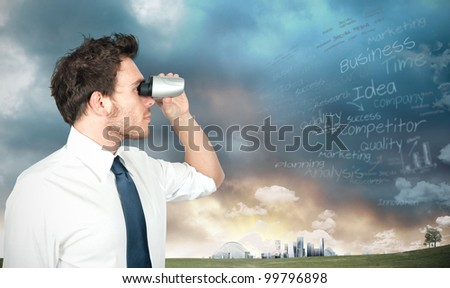 Businessman with binoculars looking for new business - stock photo