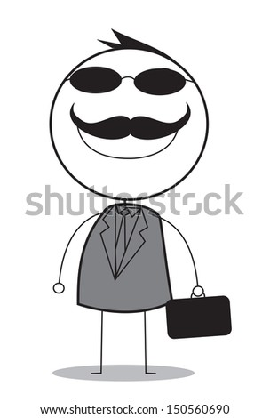 businessman with black glasses - stock photo