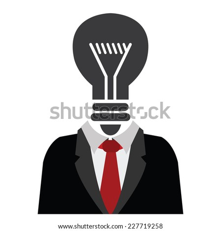 Businessman With Black Light Bulb Head Isolated on White Background  - stock photo